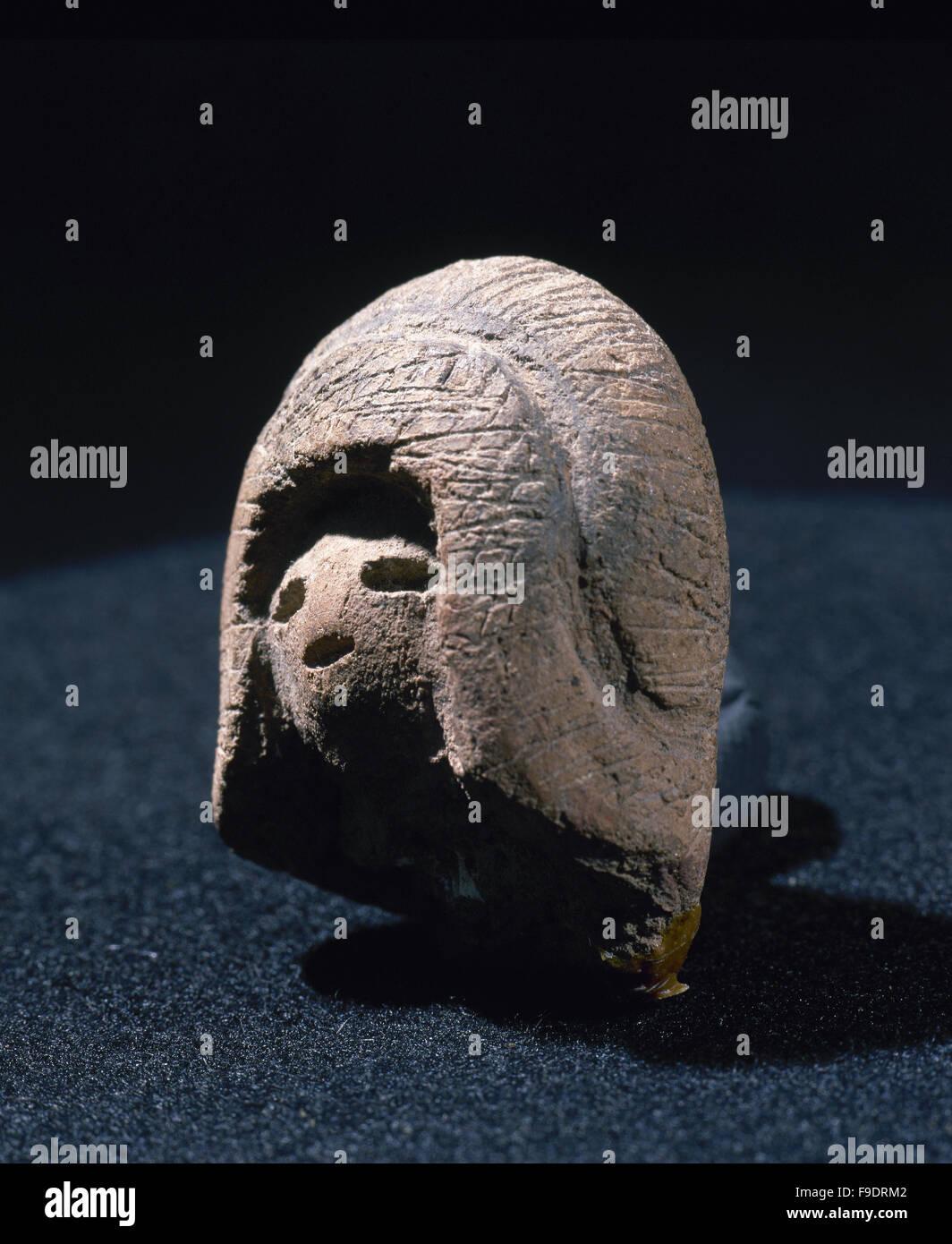 Pre-Columbian art. Valdivia culture. Ecuador. 3500 BC-1800 BC. Venus statuette. From Ecuador. Private collection. - Stock Image