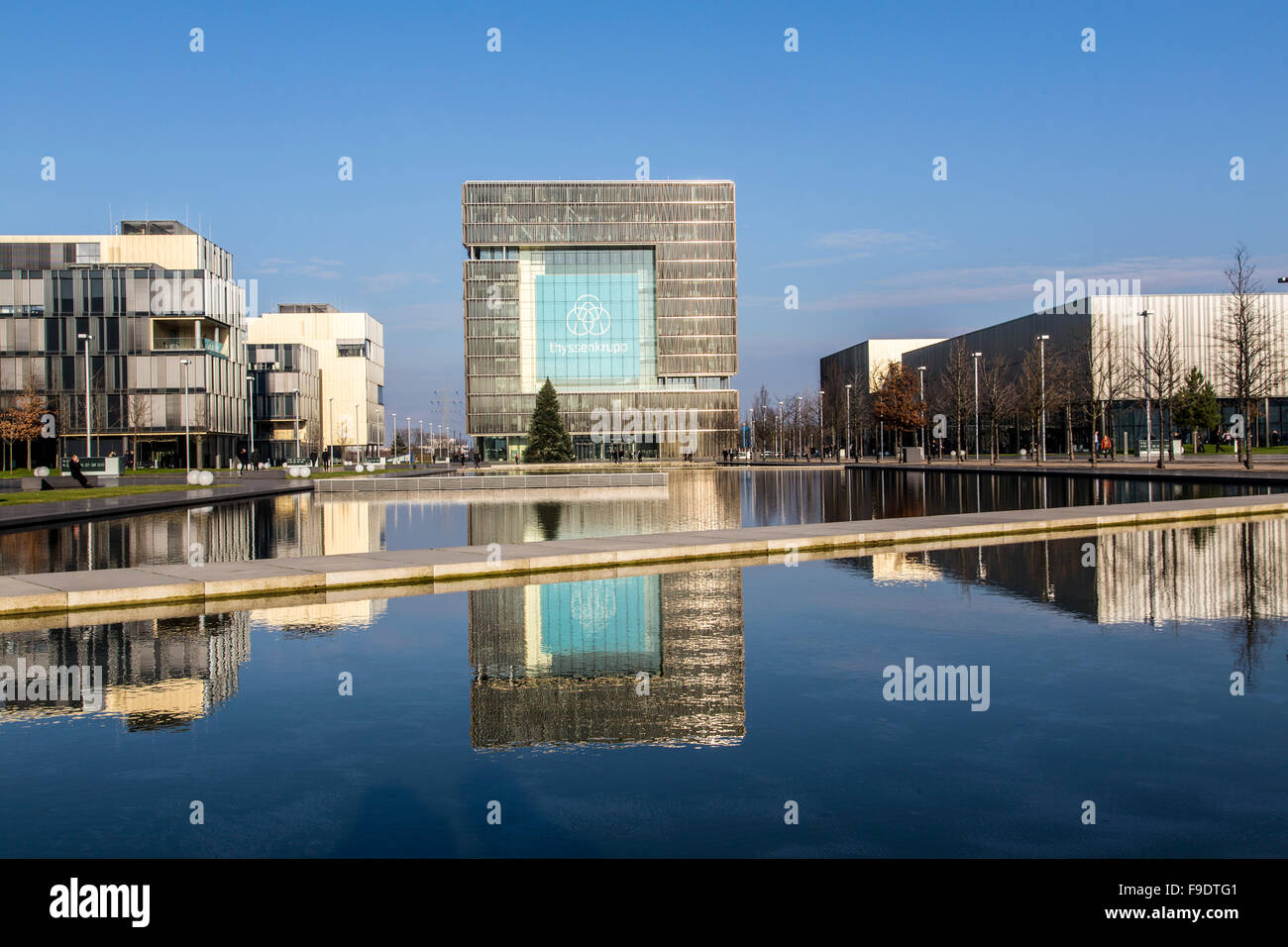 ThyssenKrupp corporate headquarters, with new company logo, in  Essen, Germany - Stock Image
