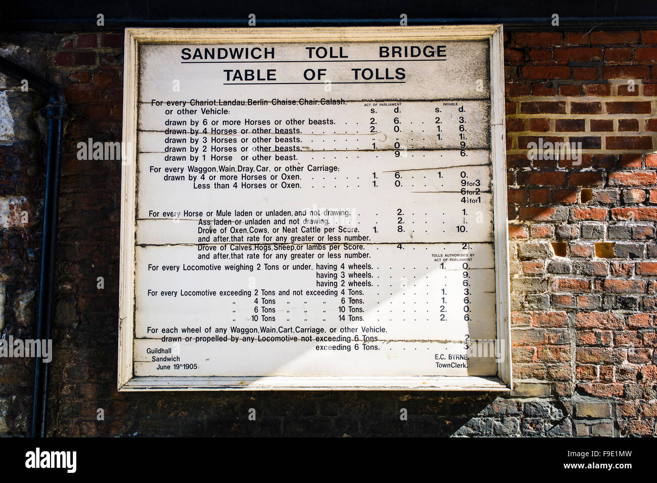 Toll charges applicable in Sandwich Kent in the early 1900s - Stock Image