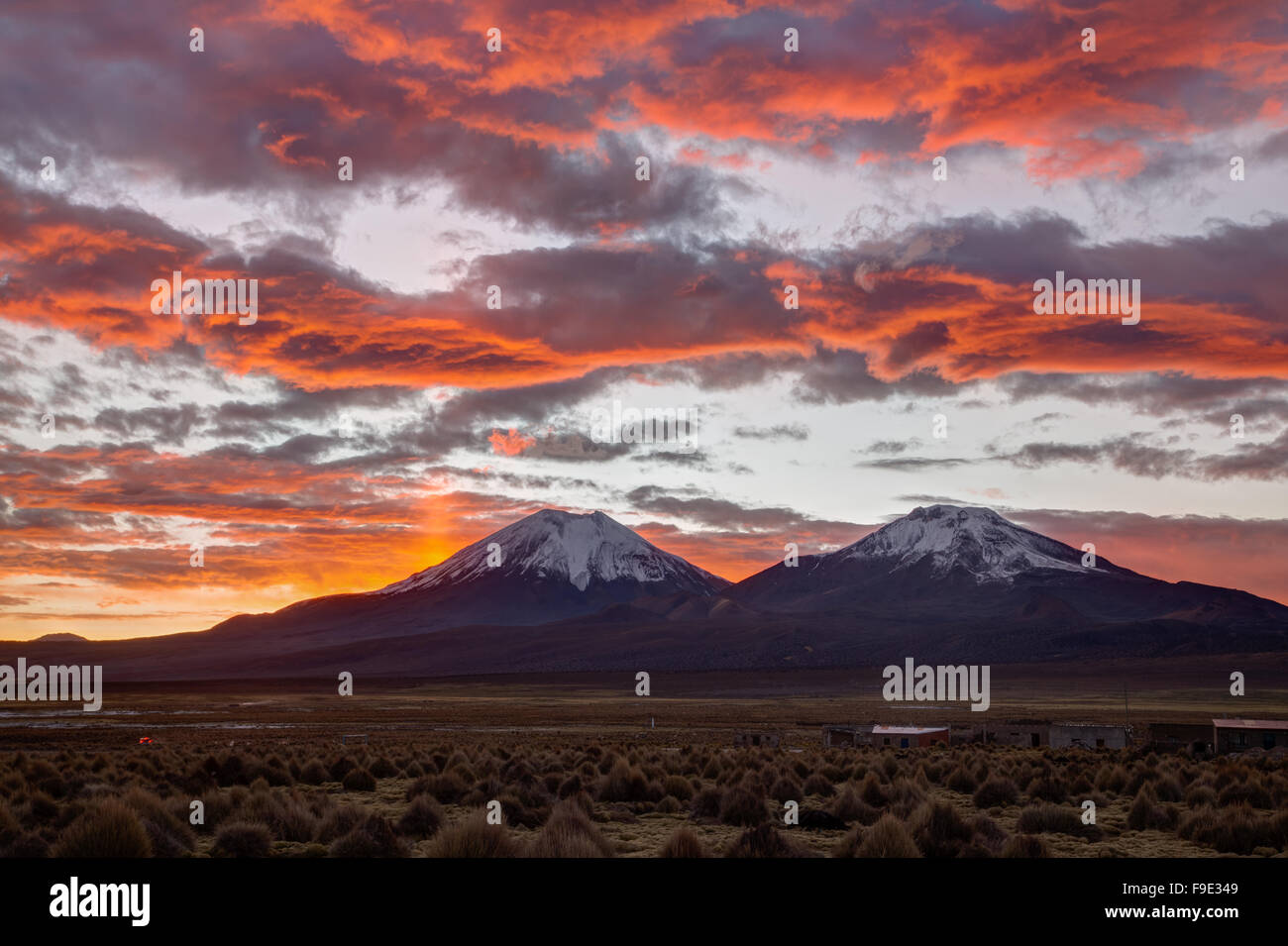 Photograph of a beautiful sunset in Sajama National Park, Bolivia. - Stock Image