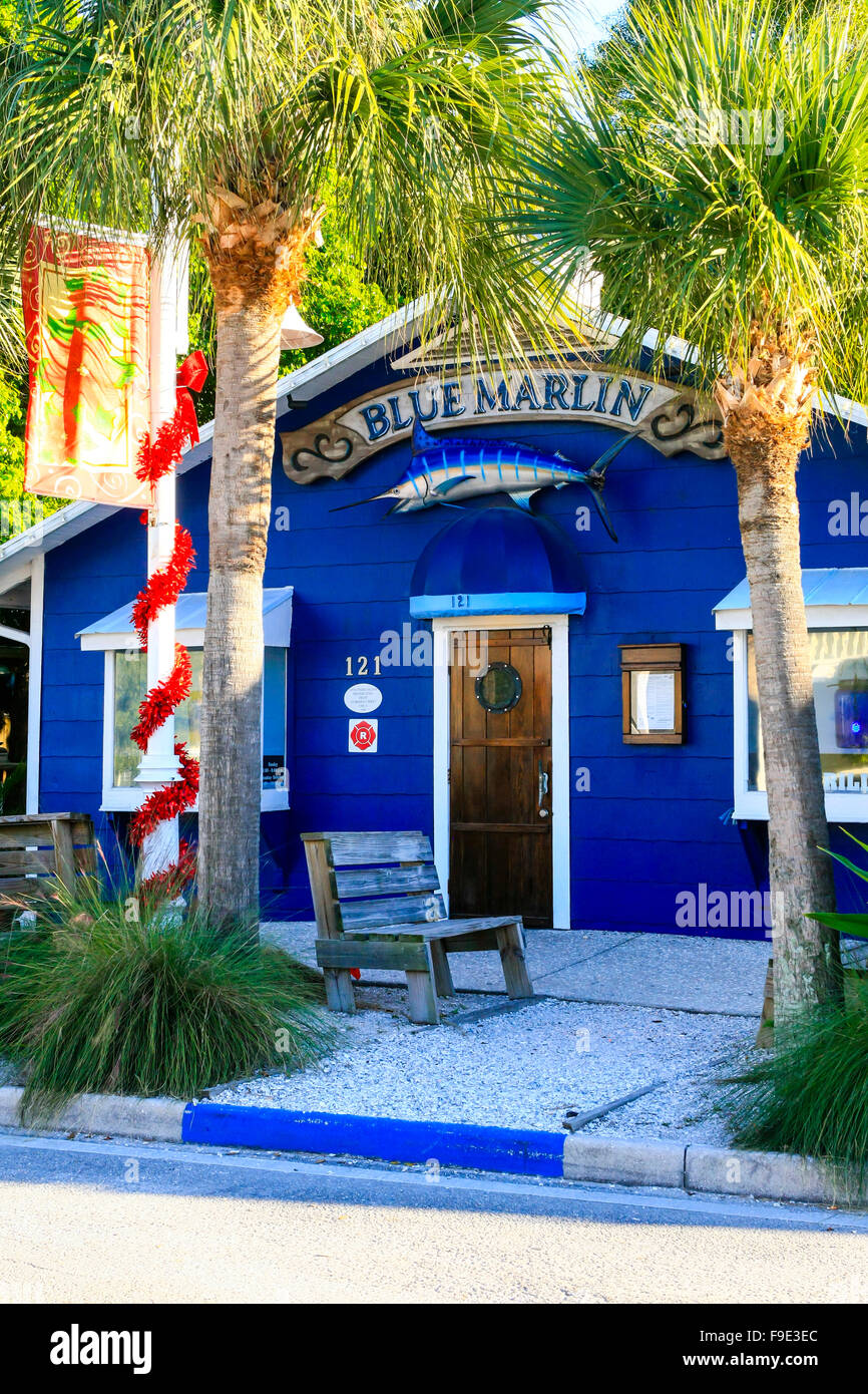 Bridge Street shops at Bradenton Beach on Anna Maria Island FL Stock