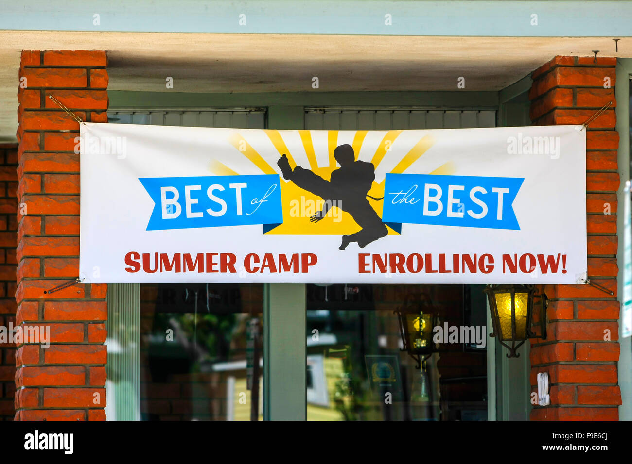 Best of the Best overhead banner outside the Santa Barbara Business College - Stock Image