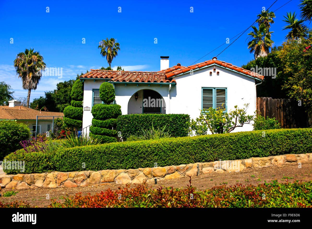 Small Spanish Style Home In Sana Barbara California Stock Photo