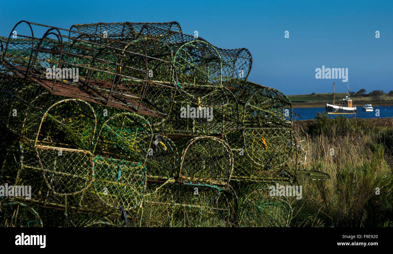 Lobster pots and sea view at Brancaster Staithe,Norfolk,England - Stock Image