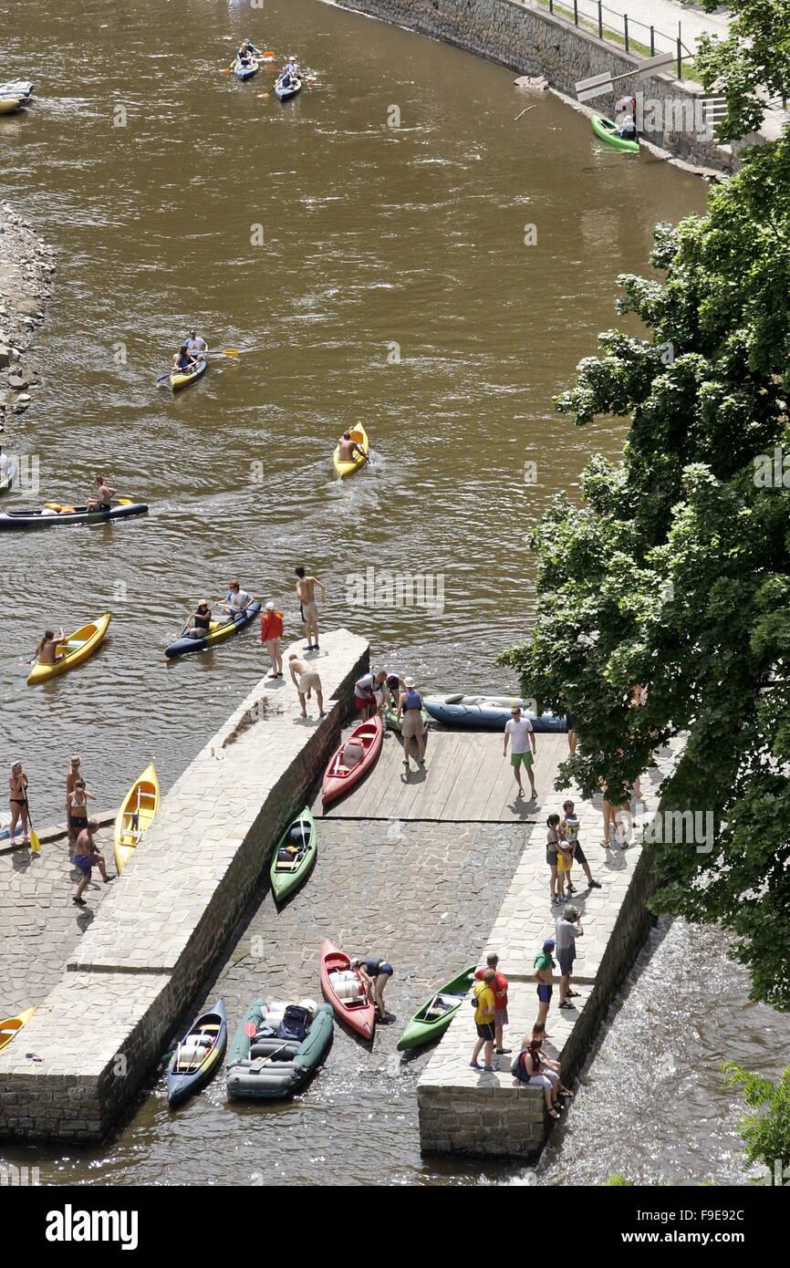 Vltava River  in Cesky Krumlov - Stock Image