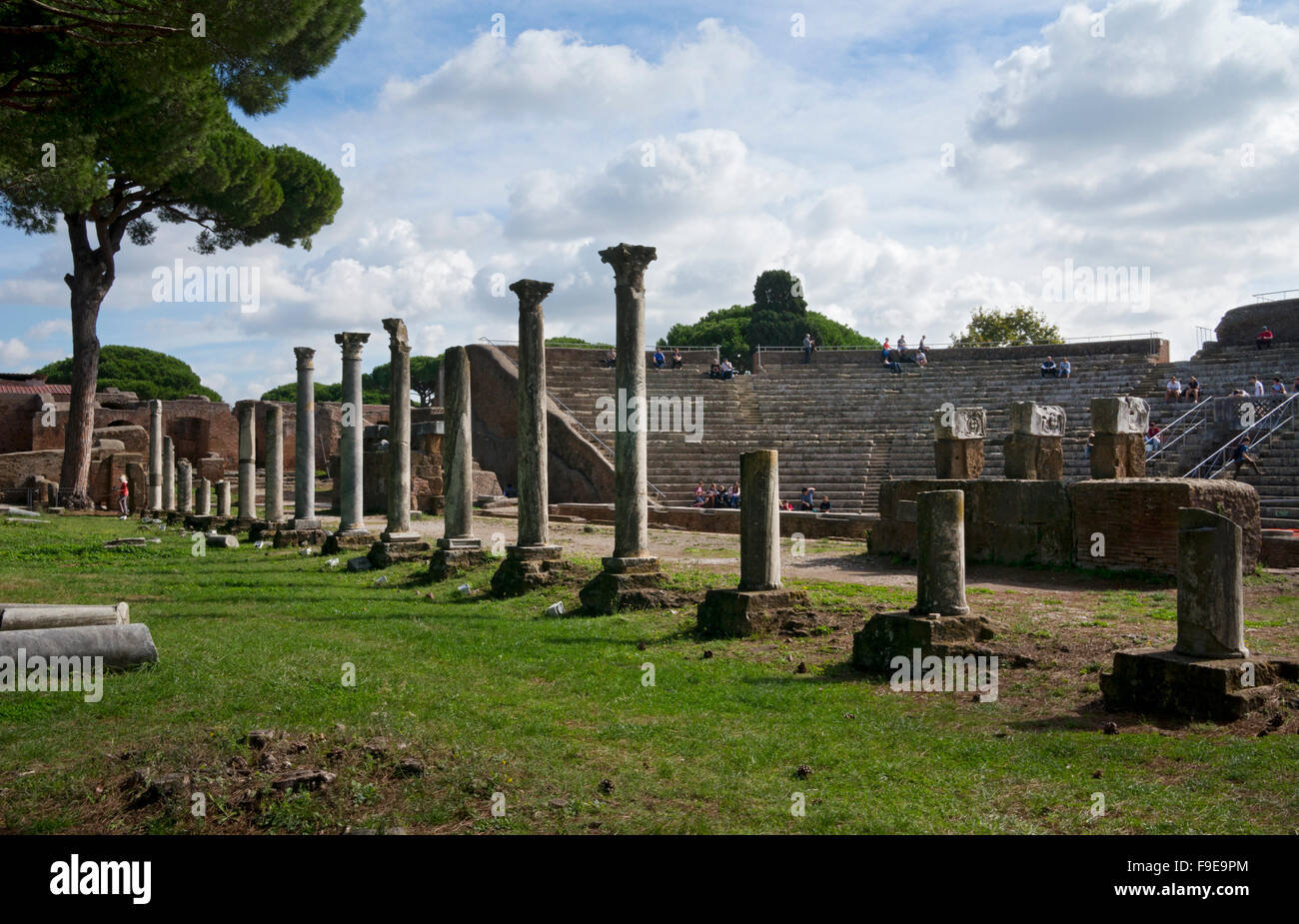 Theatre of Orchestra and Scaena in Ancient Roman port city of Ostia near Rome, Italy - Stock Image