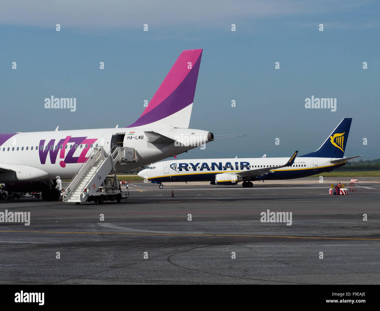 Low-cost airline aeroplanes at Ciampino airport in Rome, Italy - Stock Image