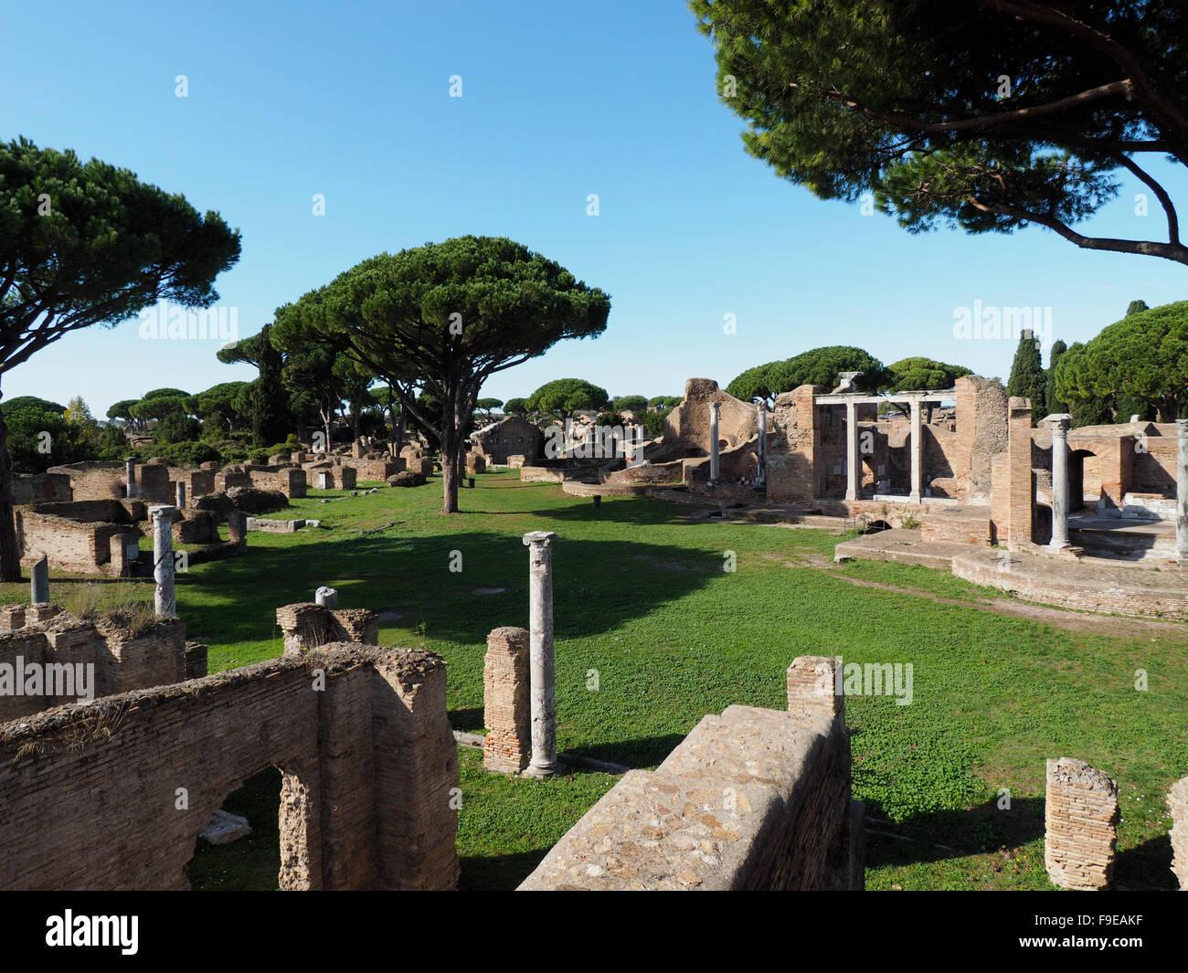 Ostia Antica excavation site near Rome, Italy - Stock Image
