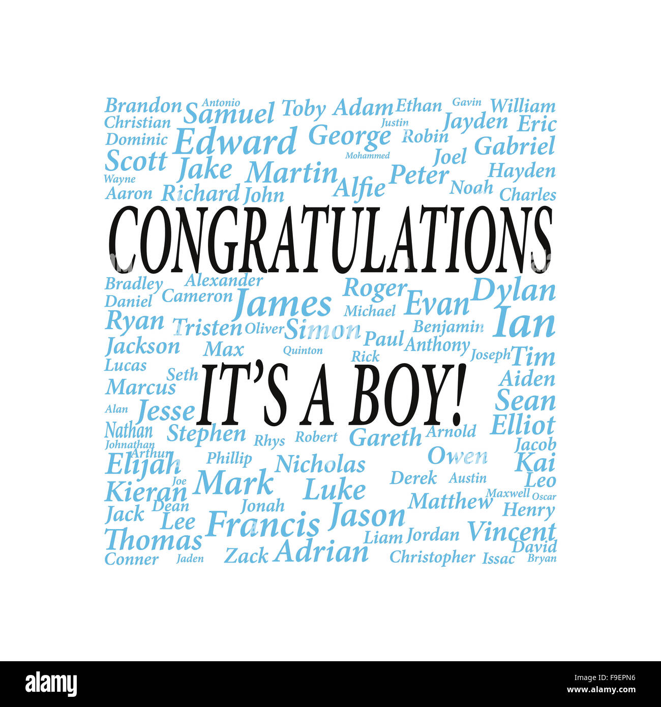 Congratulations it's a boy surrounded with boys names - Stock Image