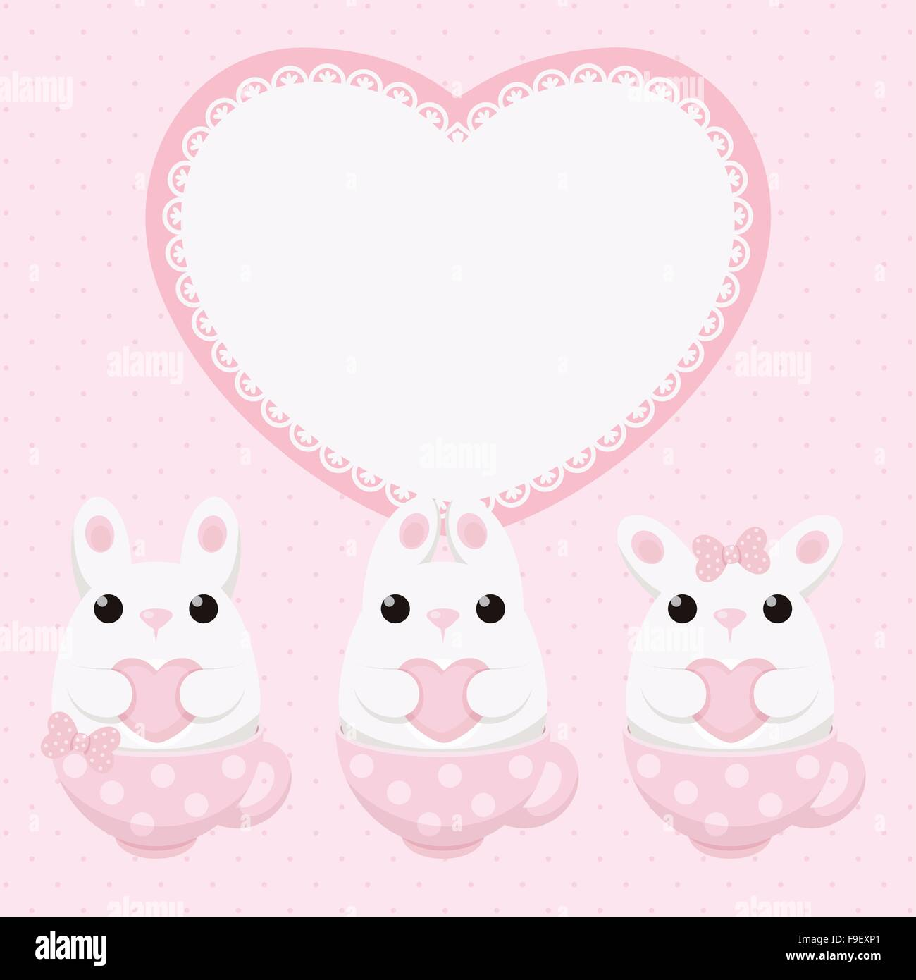 Vector card with white bunny with heart in pink tea cup and lace ...