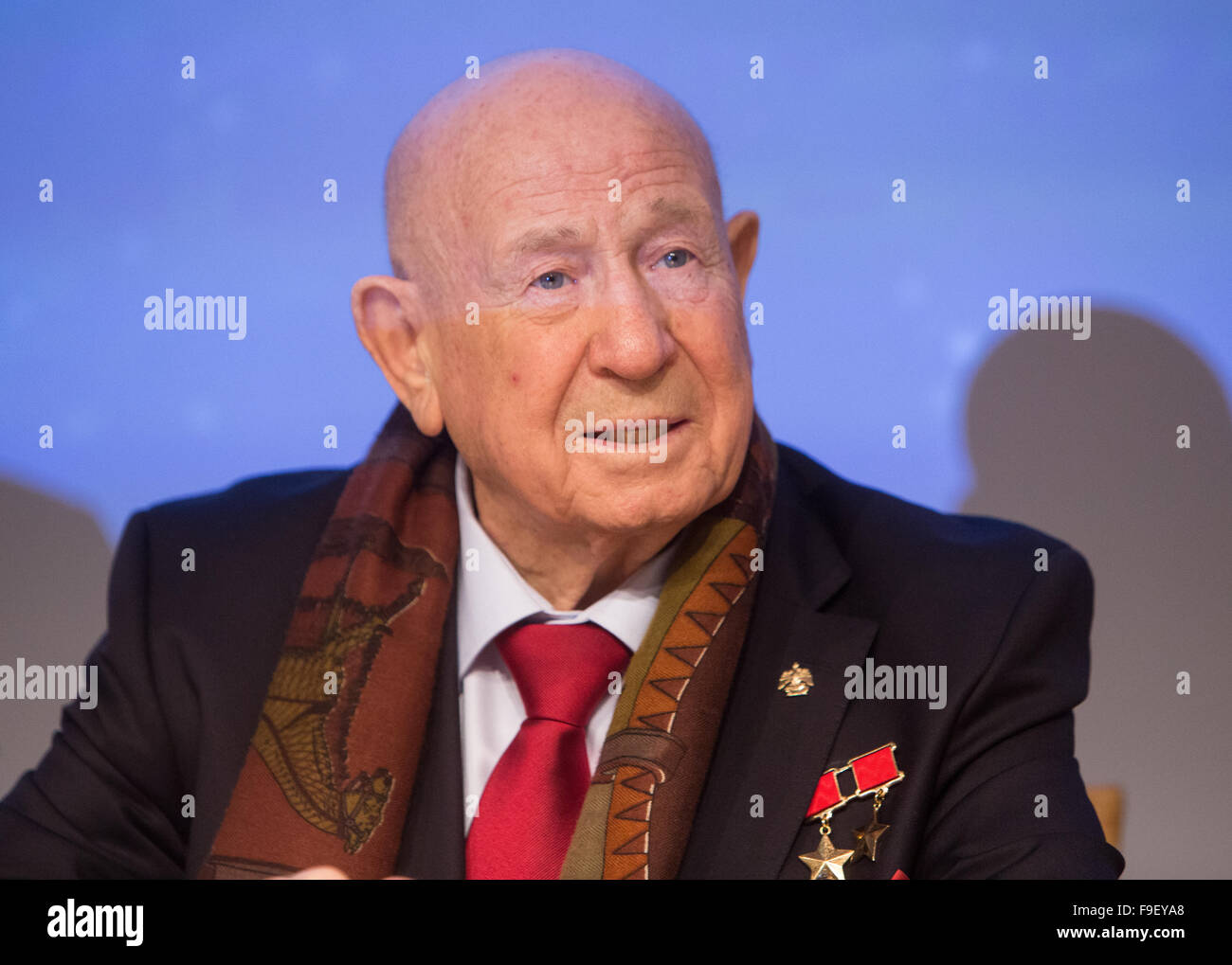 Alexei Leonov,the first man to walk in space, attends the announcement of the Stephen Hawking medal for Science - Stock Image