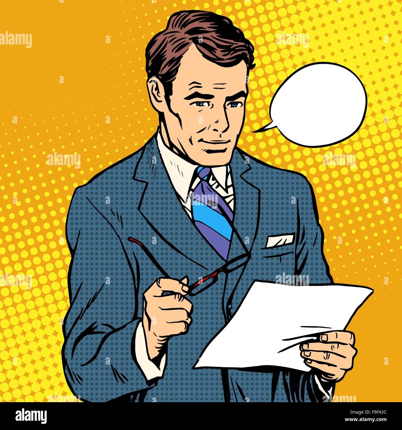 businessman reading a document - Stock Vector