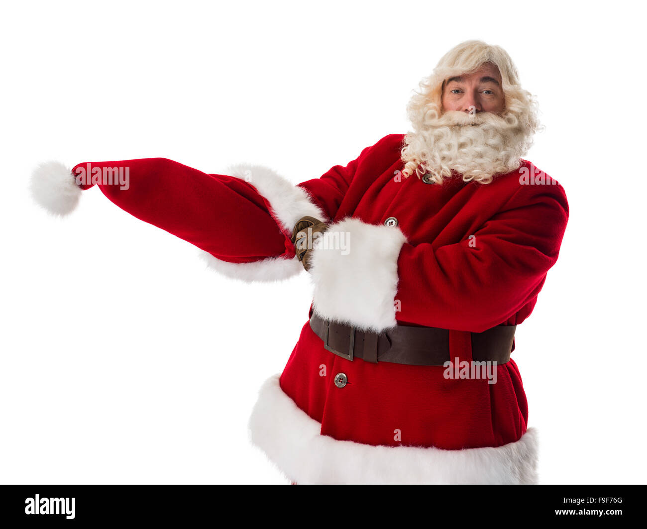 70da1165 Santa Claus Portrait put on hat Isolated on White Background Stock ...