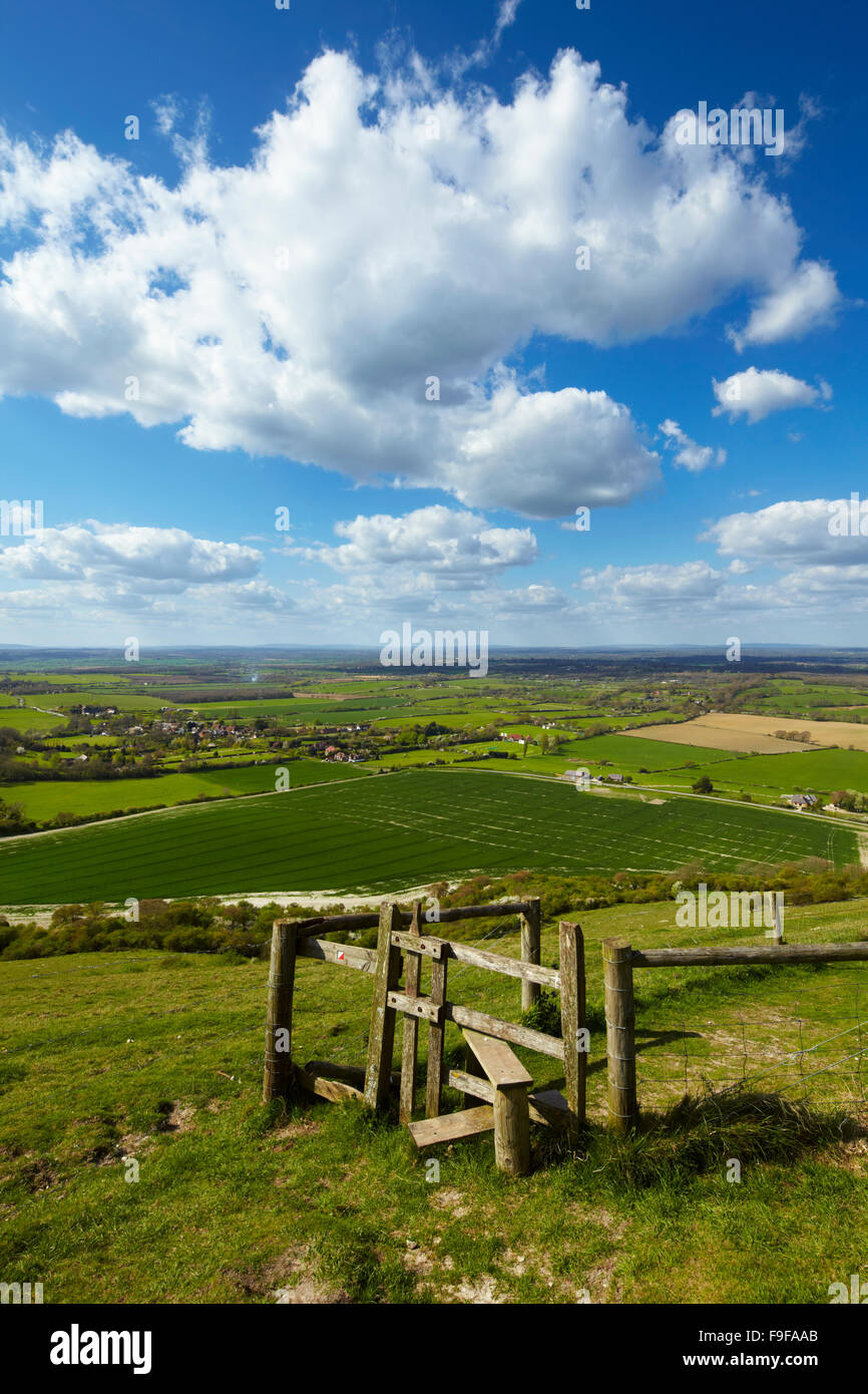 Views across the Sussex countryside from Devil's Dyke, South Downs National Park. - Stock Image