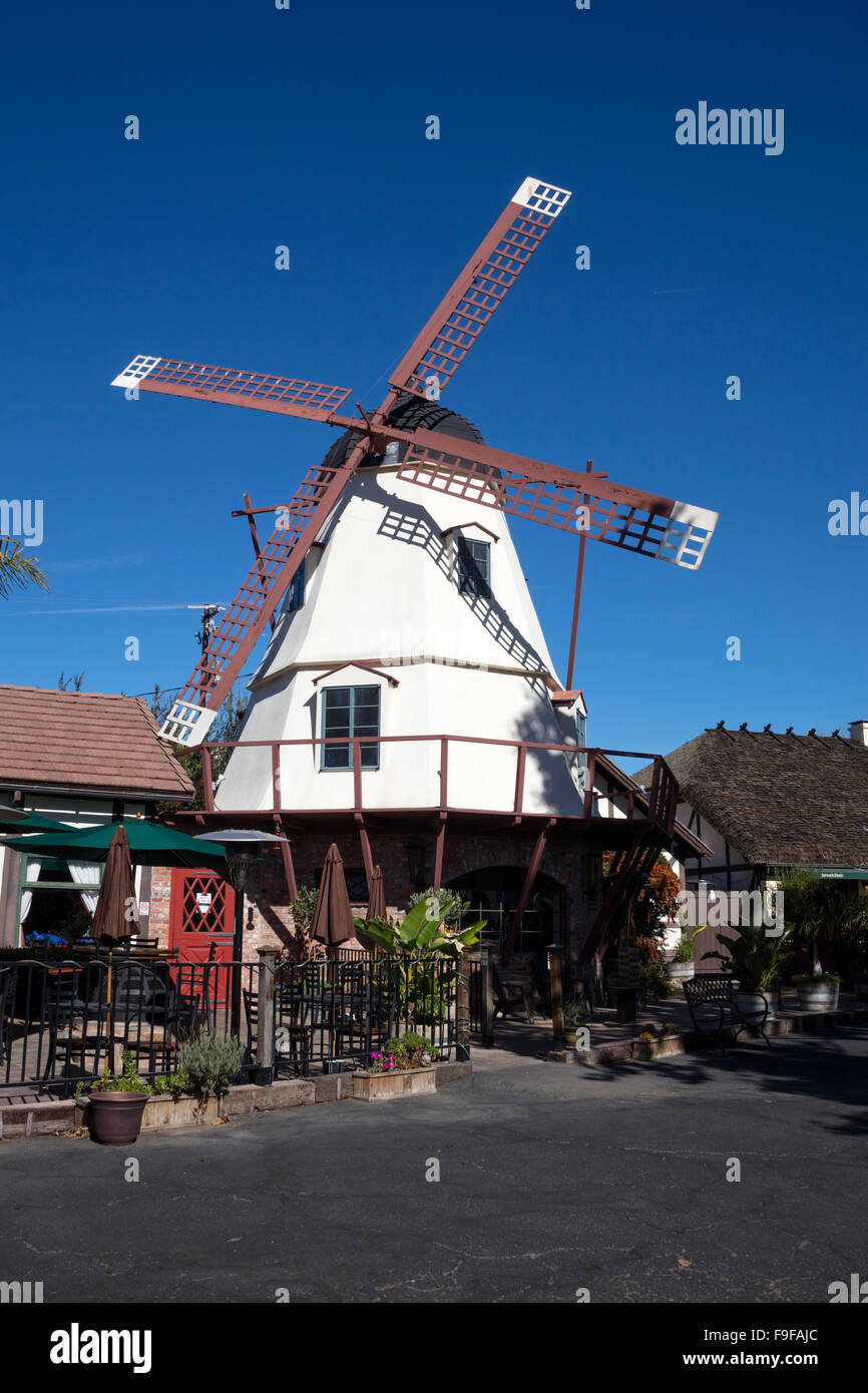Windmill, Mission Drive, Solvang, Ynez Valley, Santa Barbara County, California, USA. - Stock Image