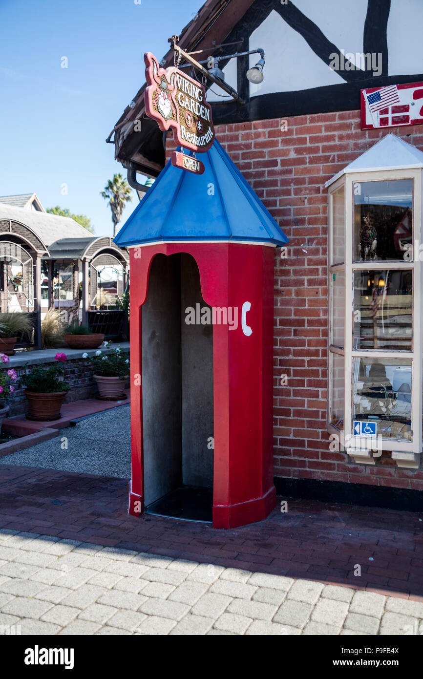 Danish Telephone booth, Alisal Road, Solvang, Ynez Valley, Santa Barbara County, California, USA. - Stock Image
