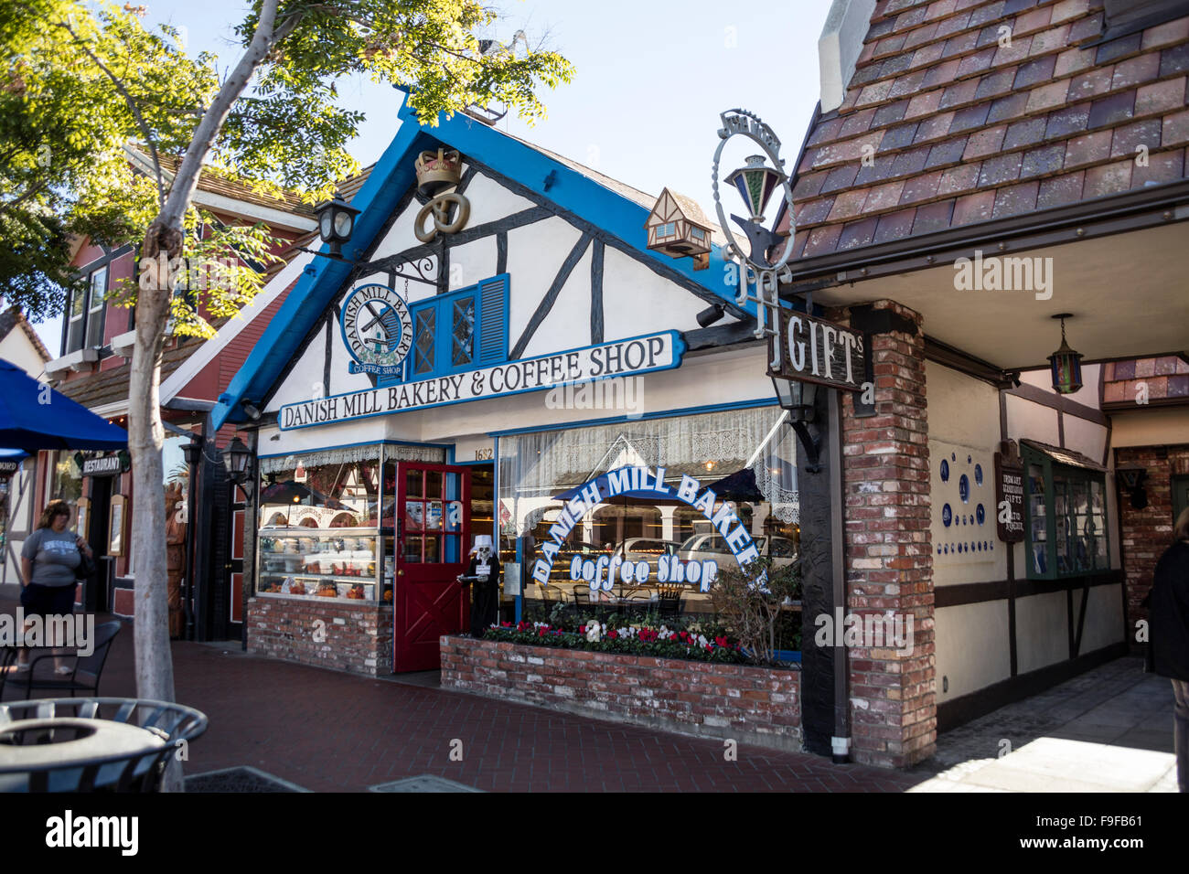 Danish Mill Coffee Shop, Copenhagen Drive, Solvang, Ynez Valley, Santa Barbara County, California, USA. - Stock Image