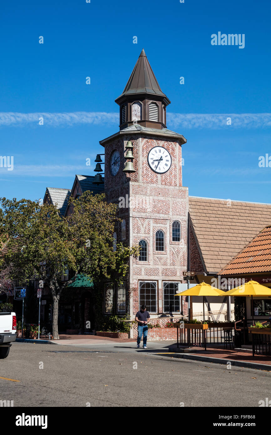 Danish Tower, First Street, Solvang, Ynez Valley, Santa Barbara County, California, USA. - Stock Image