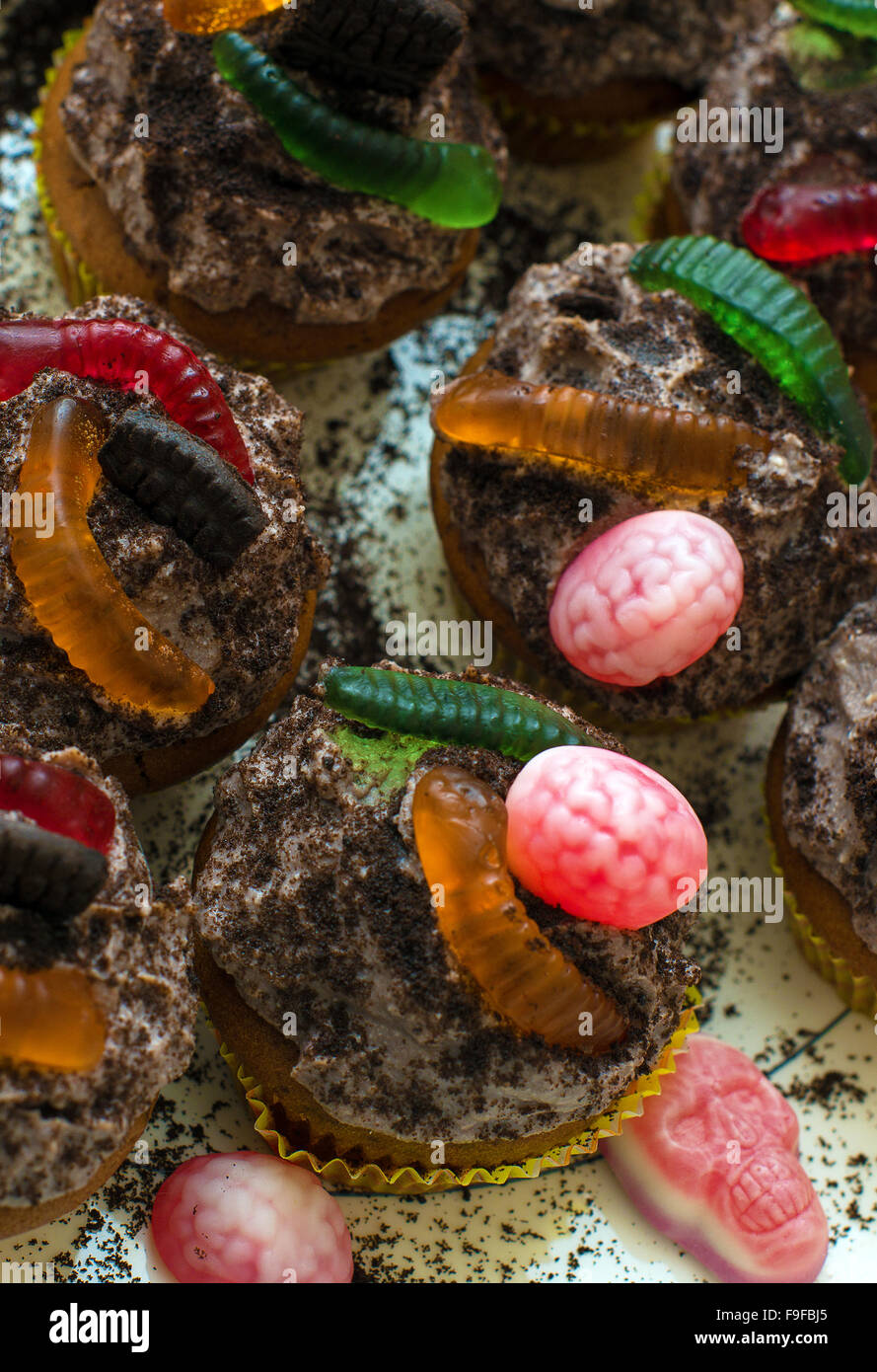 Ideas For Halloween. Cakes With Sweet Worms Stock Photo ...