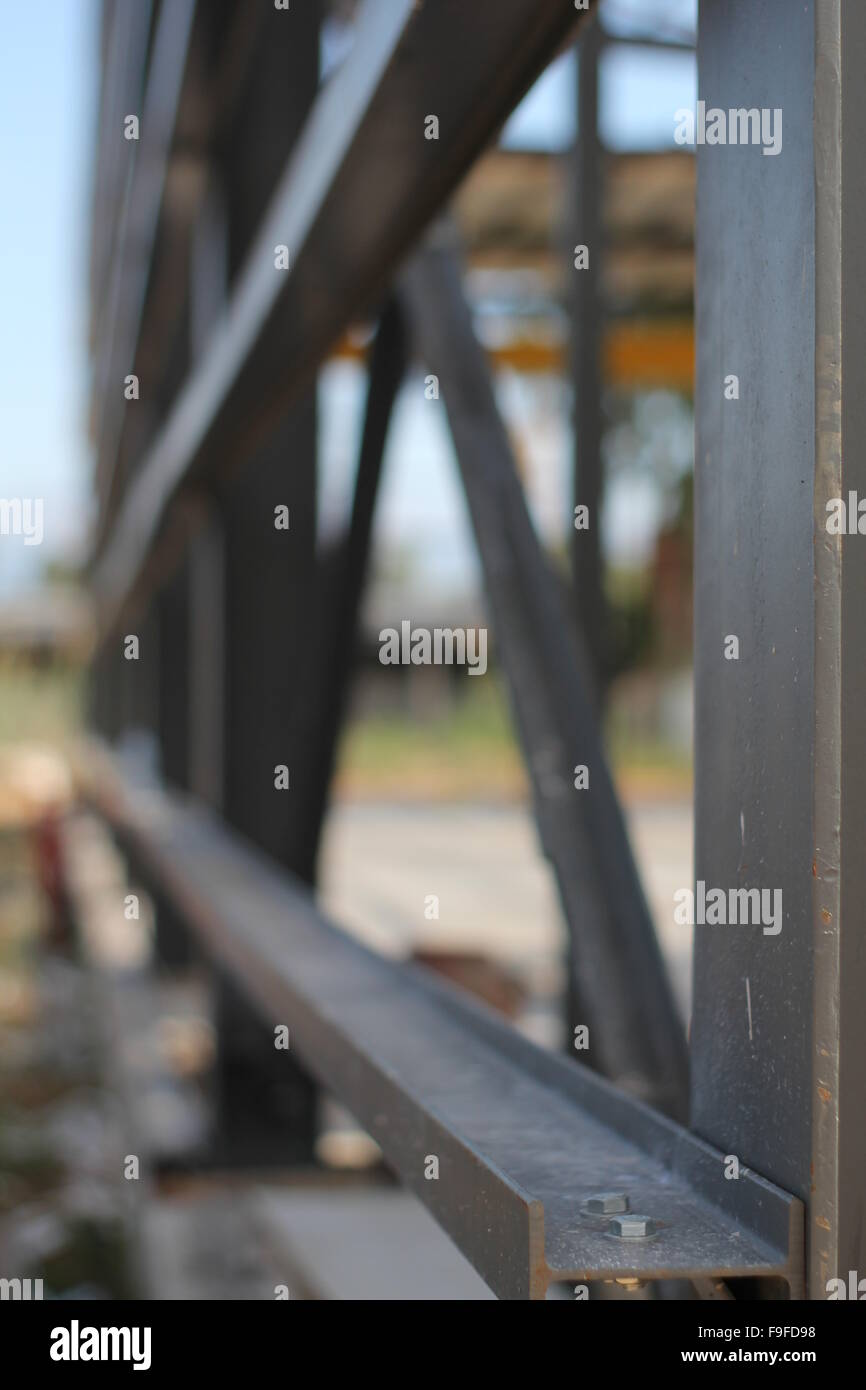 Metal framework of a building on a construction site Stock Photo