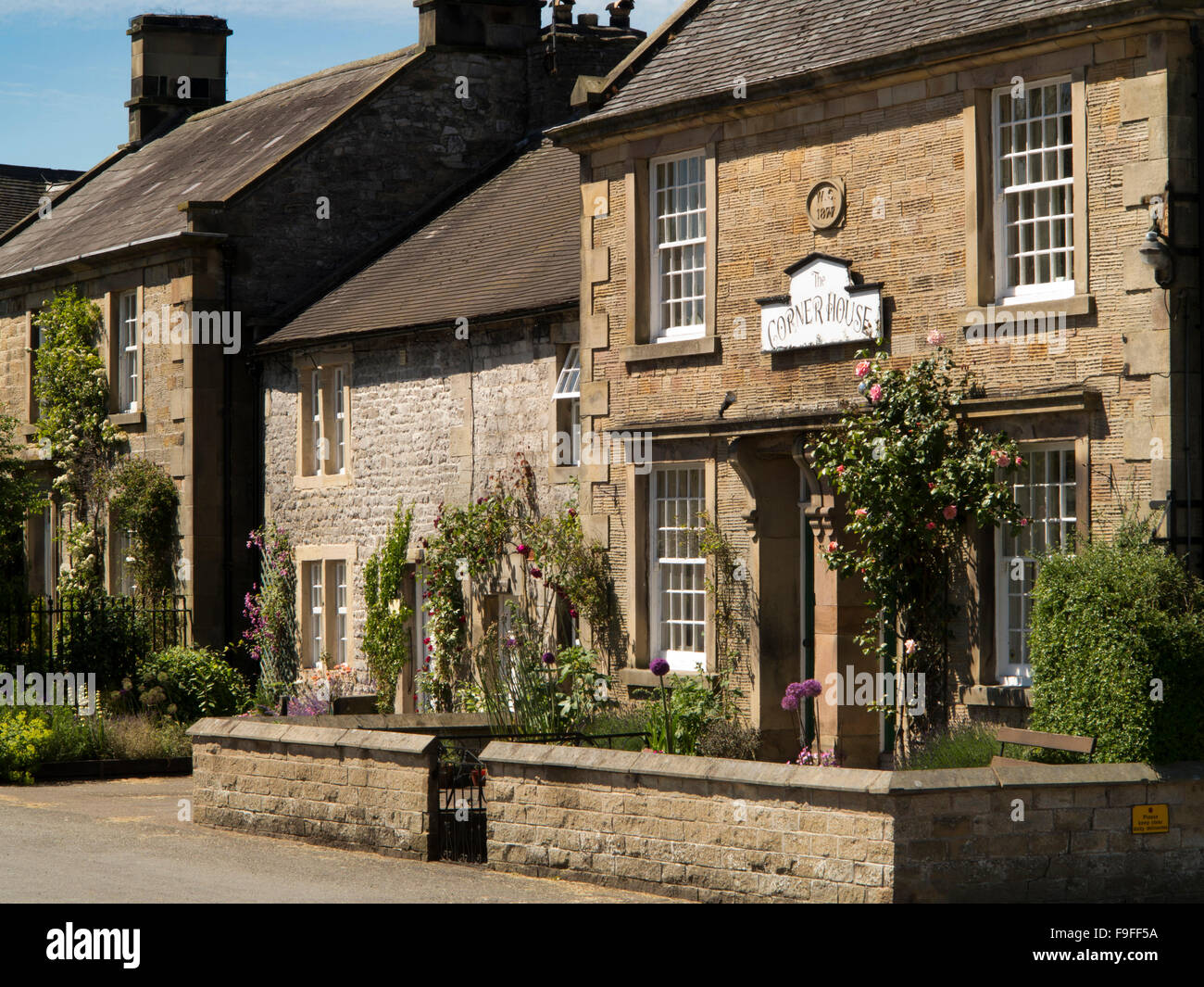 UK, England, Derbyshire, Hartington, The Corner House, Victorian Stone built home - Stock Image