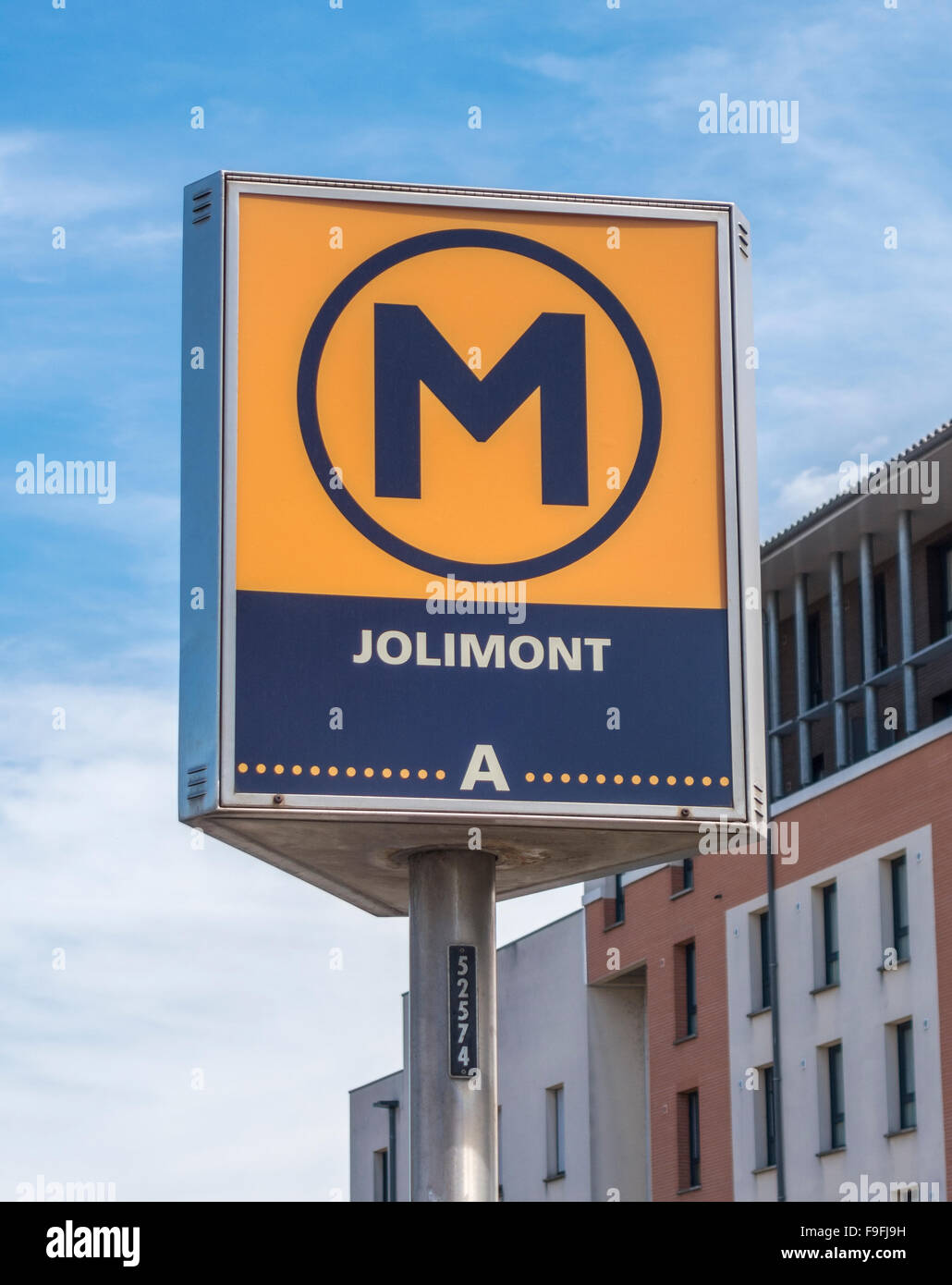 Toulouse Metro sign at Metro Station Jolimont. - Stock Image