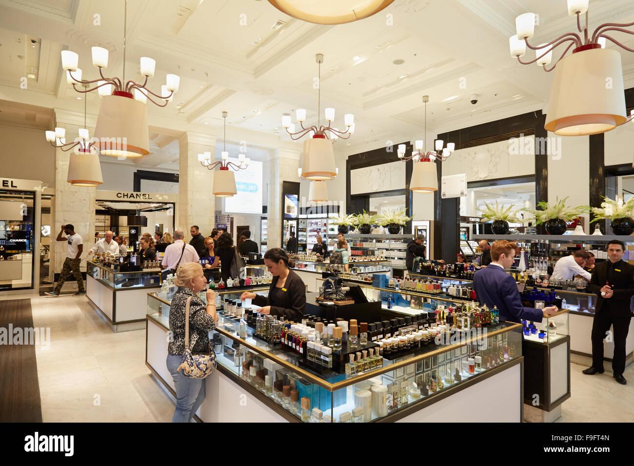 Selfridges department store interior, perfumery area in London - Stock Image