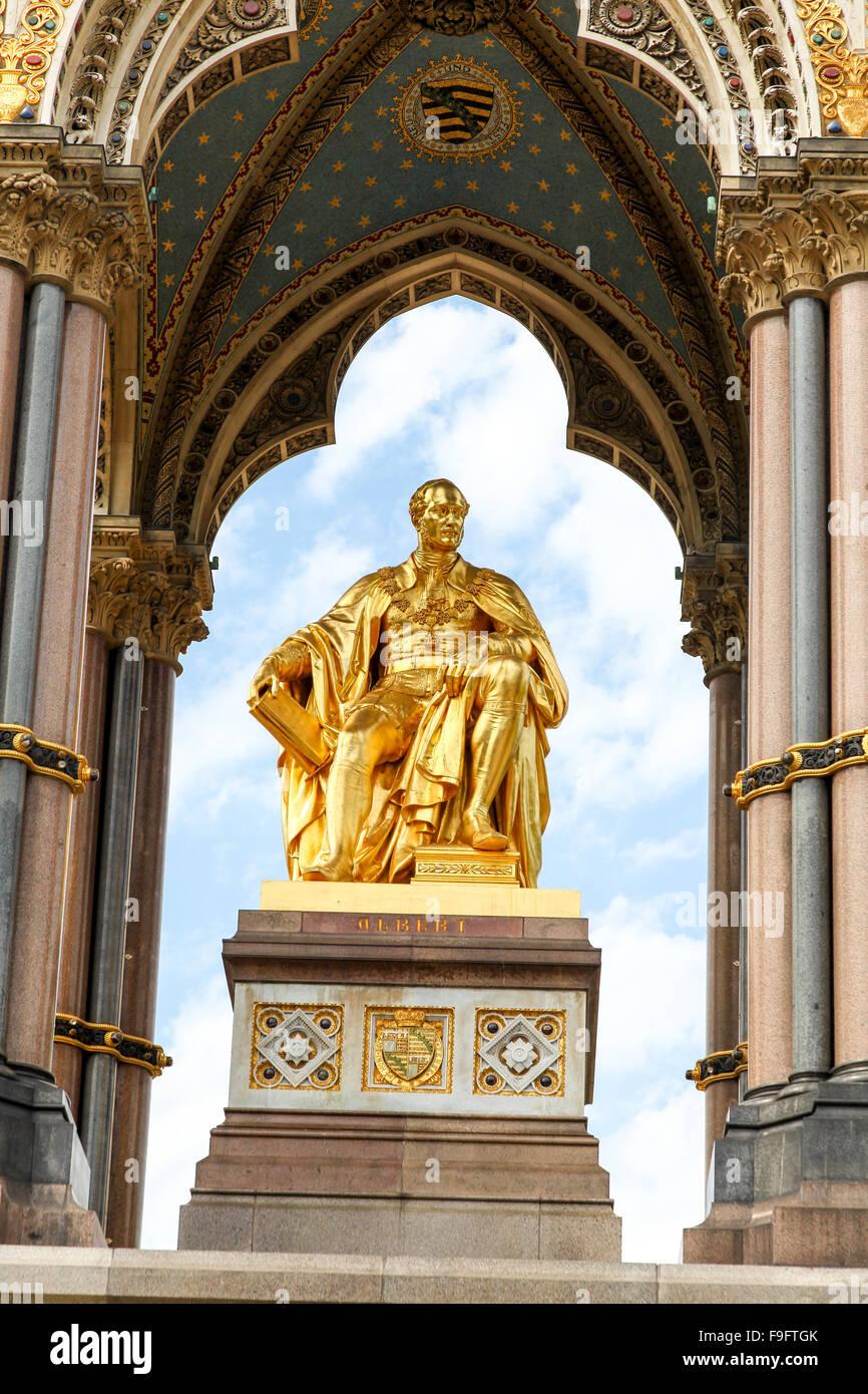 Close up of details on the Albert Memorial built in memory of Prince Albert, in Kensington Gardens, London, UK - Stock Image