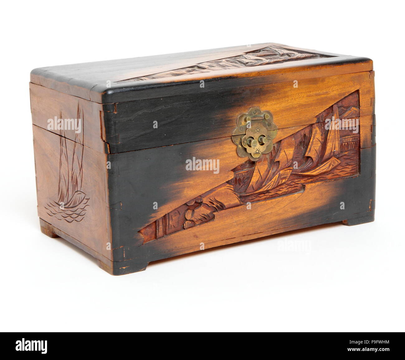 Antique Wooden Box - Stock Image