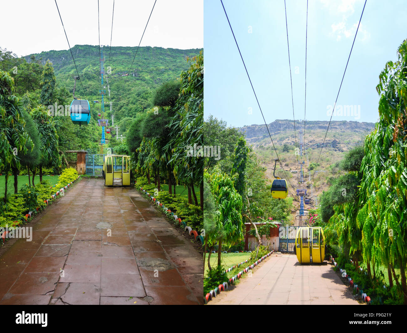 Pavagadh Hill: Comparison / Difference Left: Monsoon season ( September month) Right: Summer season ( May month - Stock Image