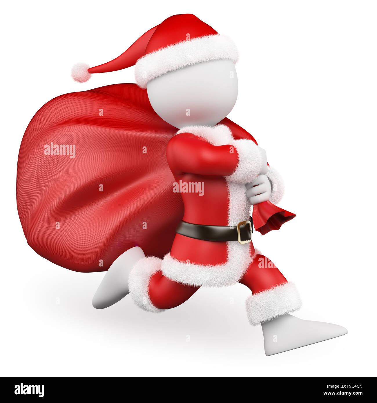 3d white people. Santa Claus running with big bag full of gifts. Isolated white background. - Stock Image