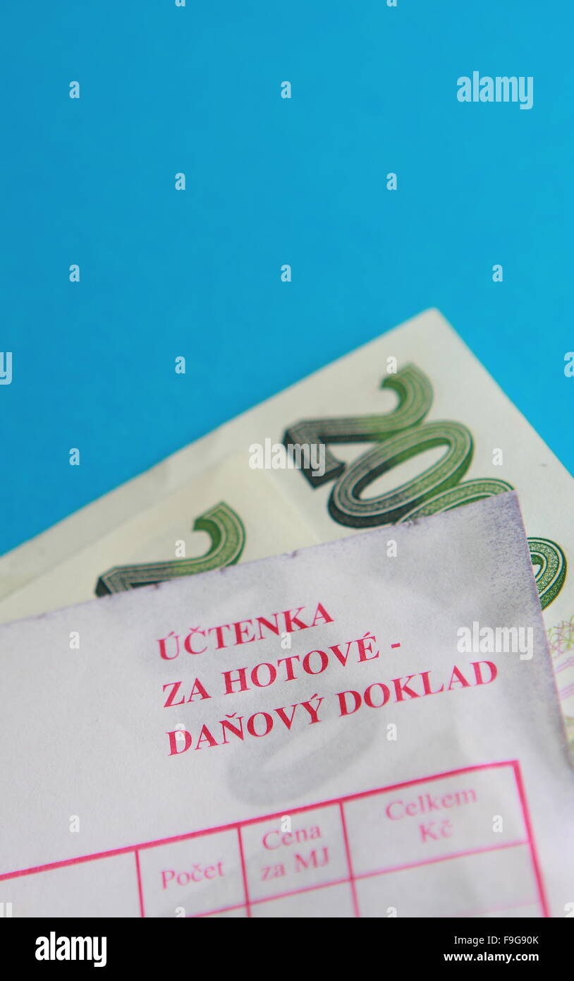 Detail Of Paper Czech Money And Tax Document Stock Photo 91942051