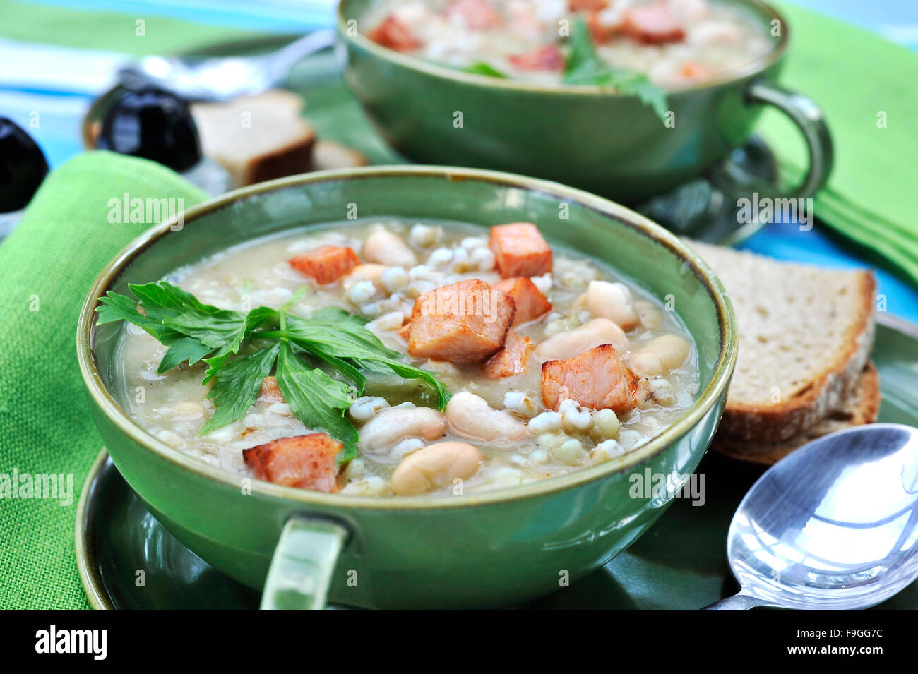Groat Soup with Beans - Stock Image
