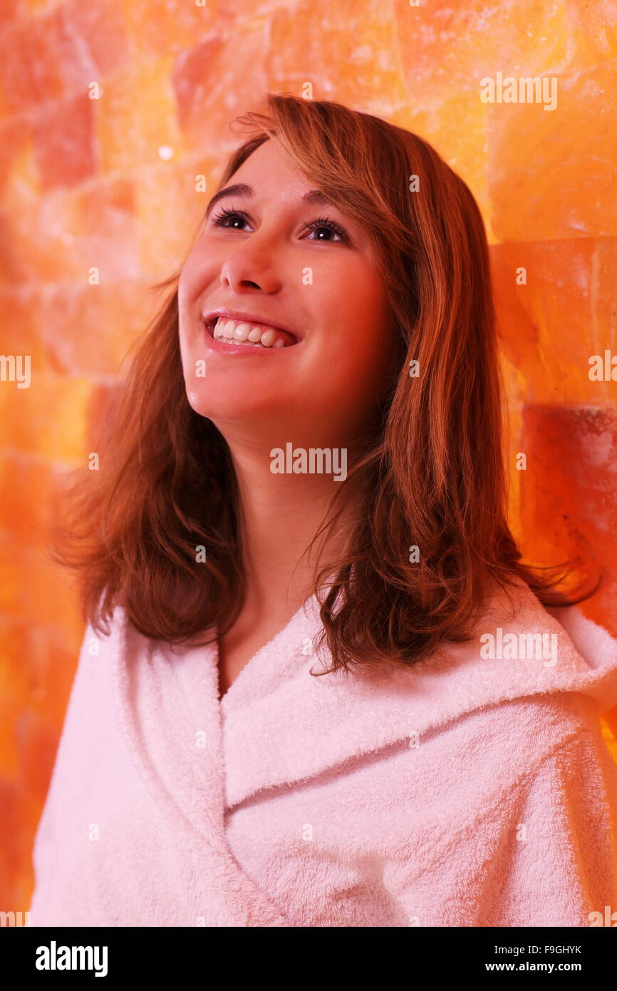 A Young woman happy in Halotherapy - Stock Image