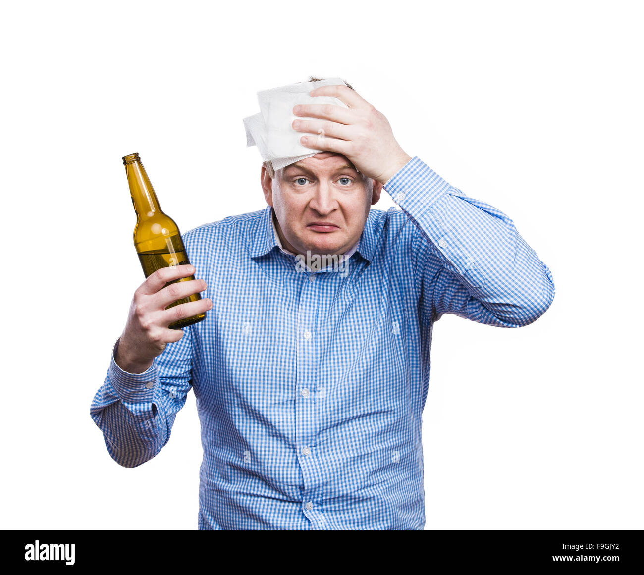 Funny Young Drunk Man Holding A Beer Bottle Studio Shot On White