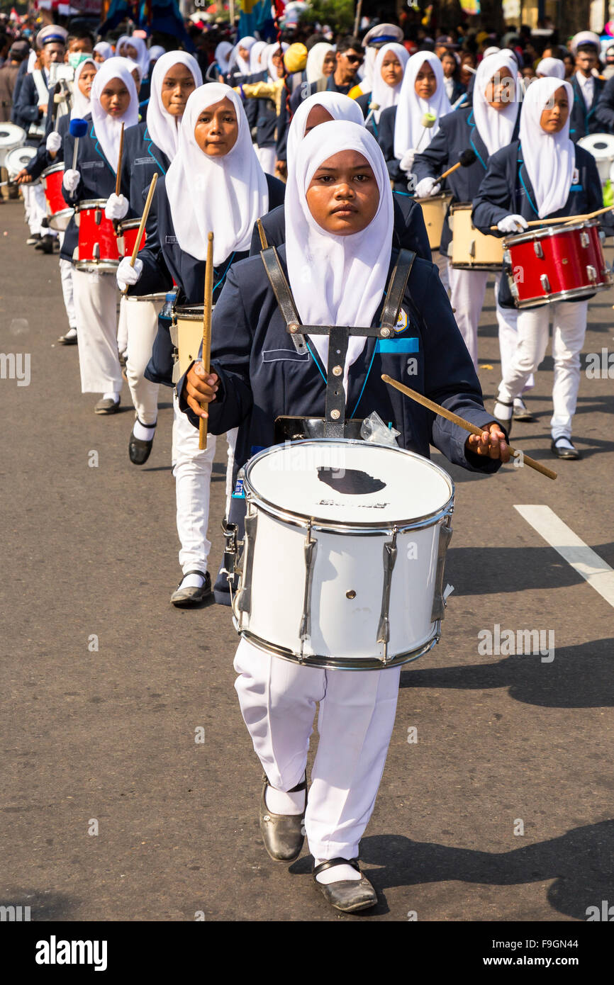 Drummers, National Day parade, Klaten, Central Java, Java Island, Indonesia - Stock Image