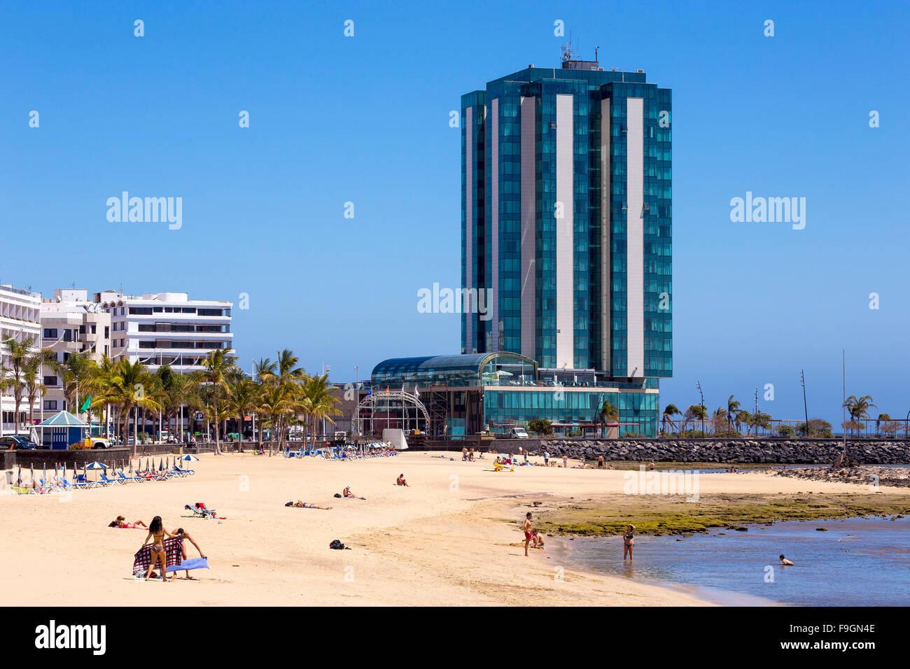 Playa del Reducto, city beach of Arrecife, Lanzarote, Canary Islands, Spain - Stock Image