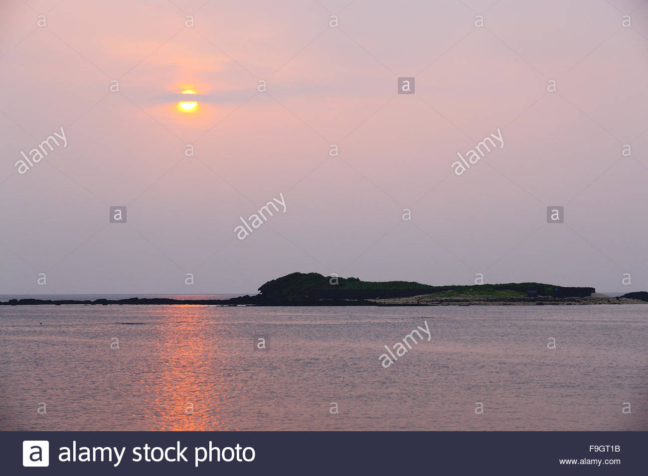 Tokkiseom Island by the evening, Jeju, South Korea - Stock Image