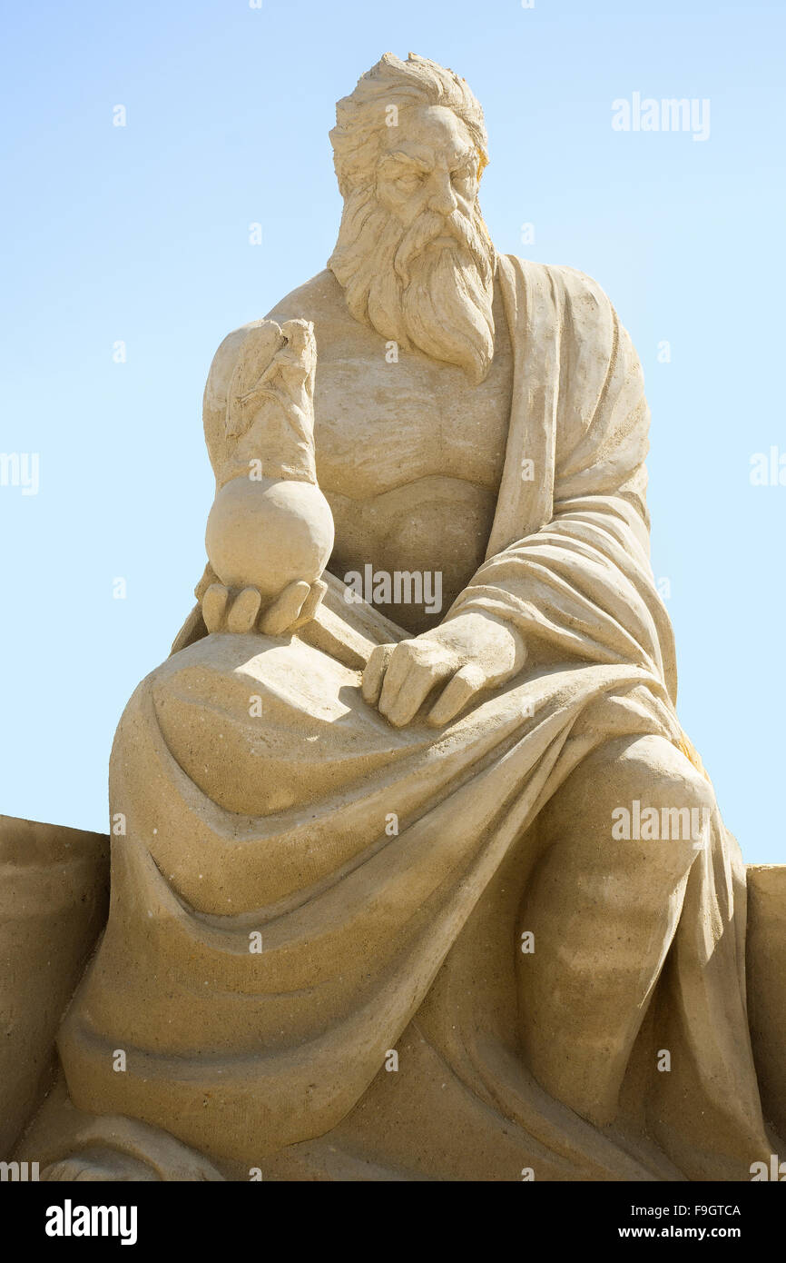 Zeus sand sculpture in San Diego, California - Stock Image