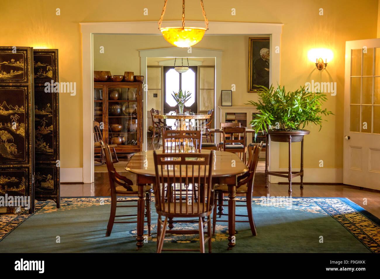 Dining room inside George Wilcox's home in Lihue, Kauai - Stock Image