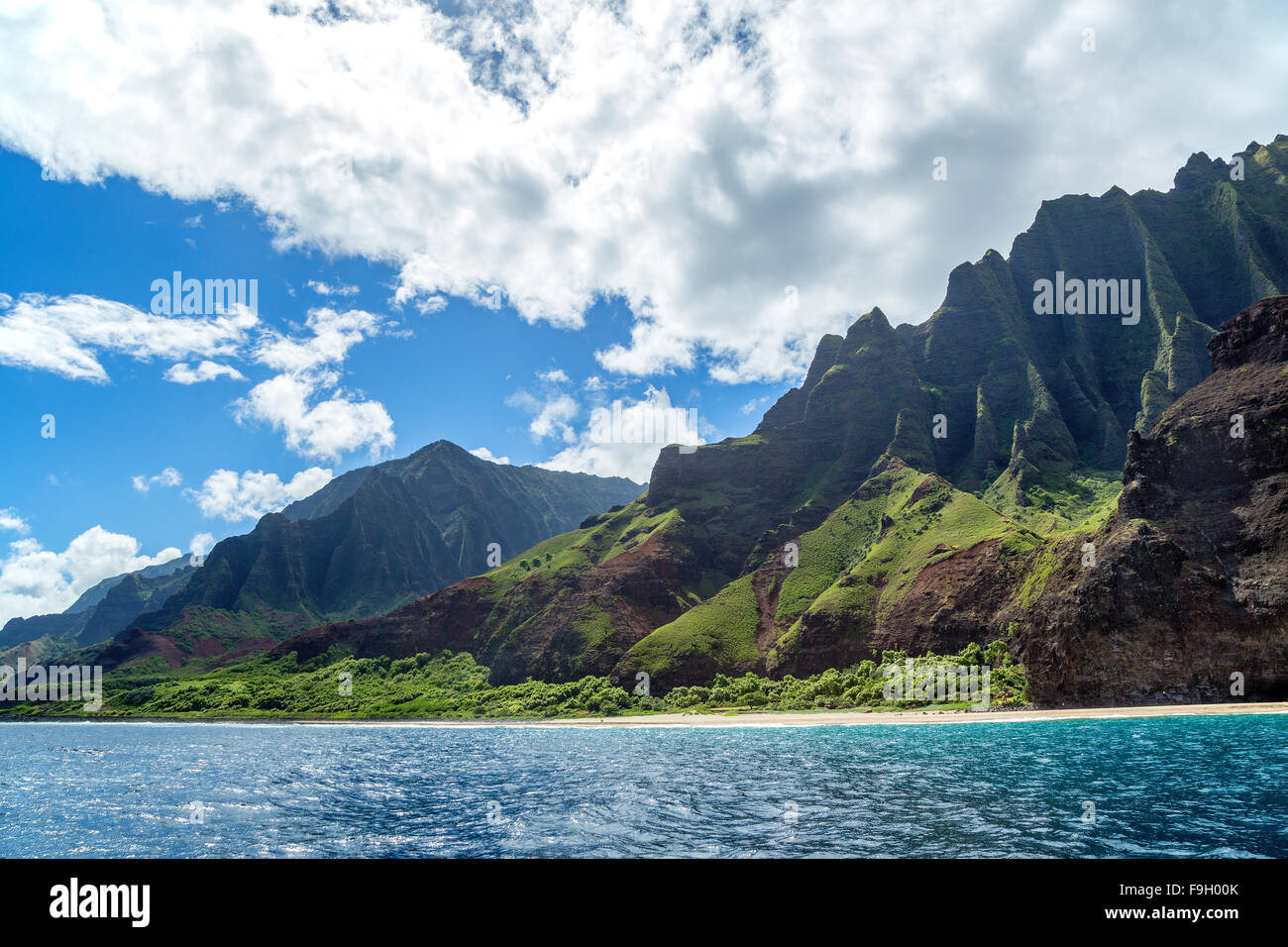 Kalalau beach on Kauai island, Hawaii - Stock Image