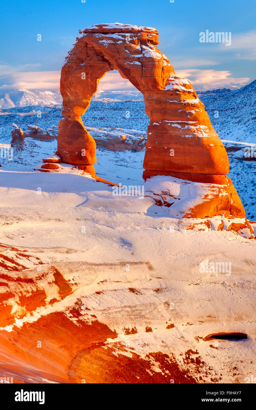 Delicate Arch, Arches National Park, Utah La Sal Mountains beyond, Heavy Winter Snow - Stock Image