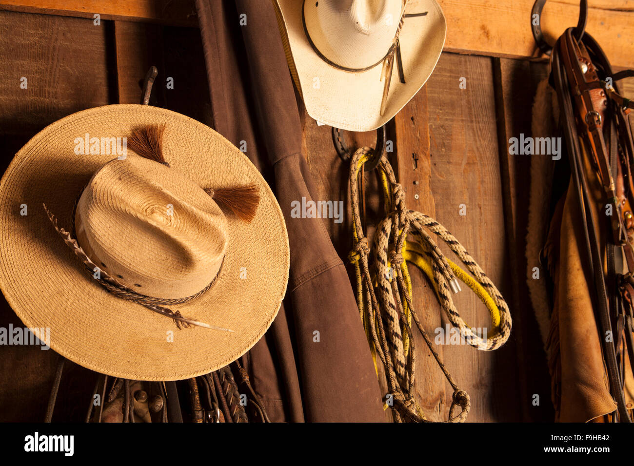 stetsons hanging in tack barn, Alisal Guest Ranch, Solvang, California - Stock Image
