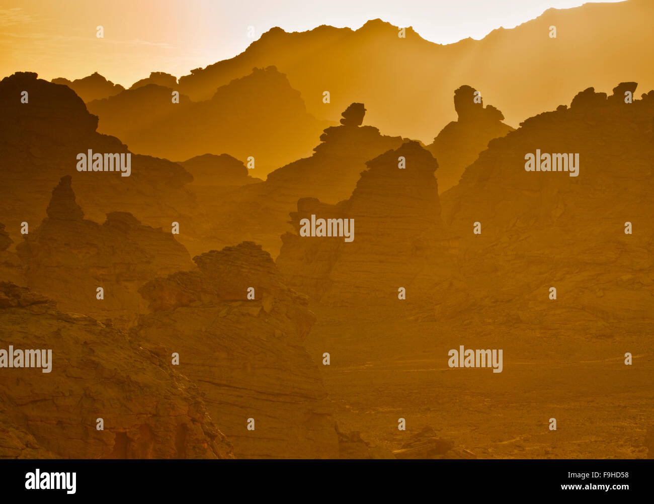Sandstone mountains and pinancles, Jebel Acacus, LIbya, Mountains in Sahara Desert UNESCO World Heritage Site, The - Stock Image