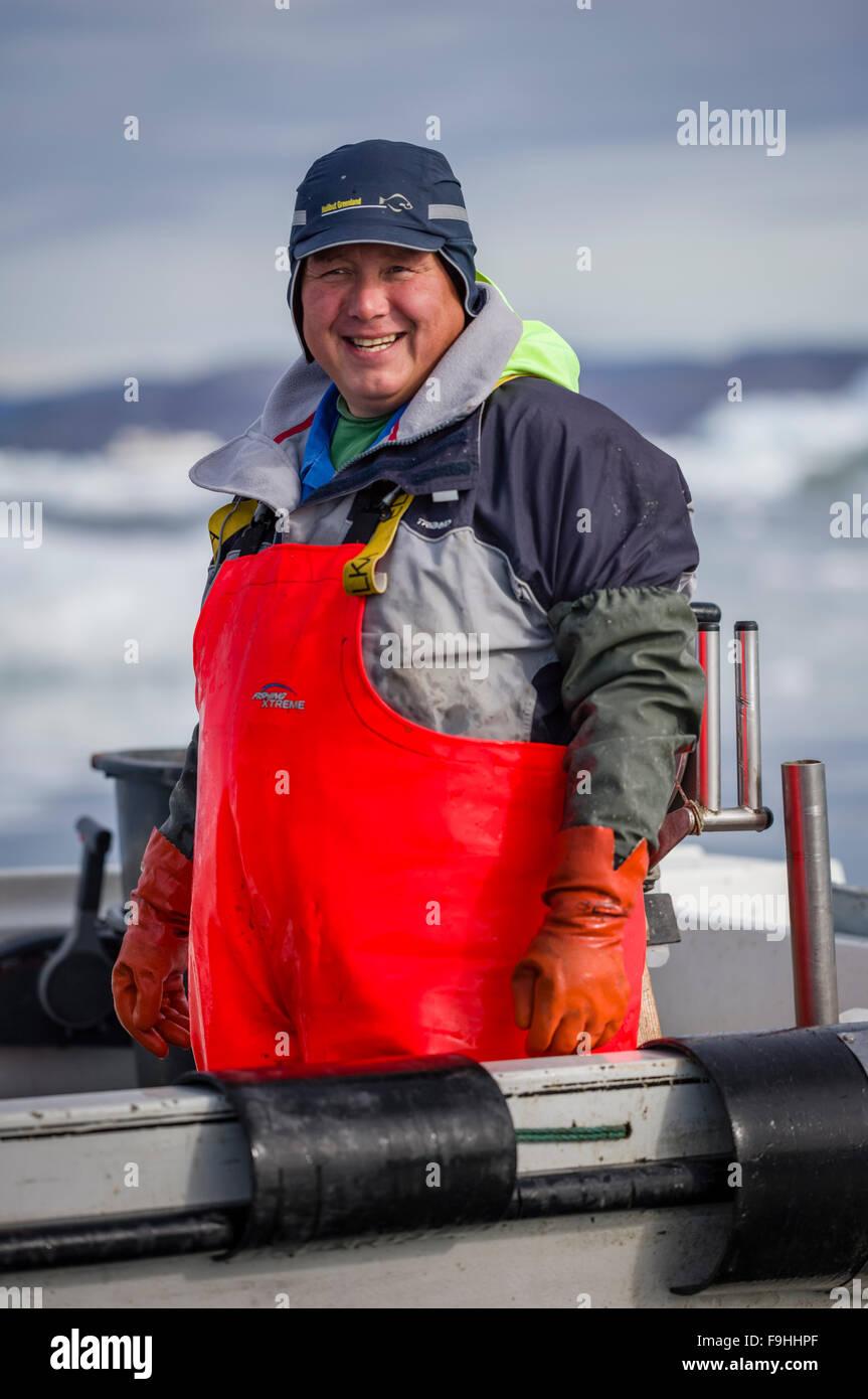 INUIT FISHERMAN    ICE FJORD           ILULISSAT       GREENLAND - Stock Image