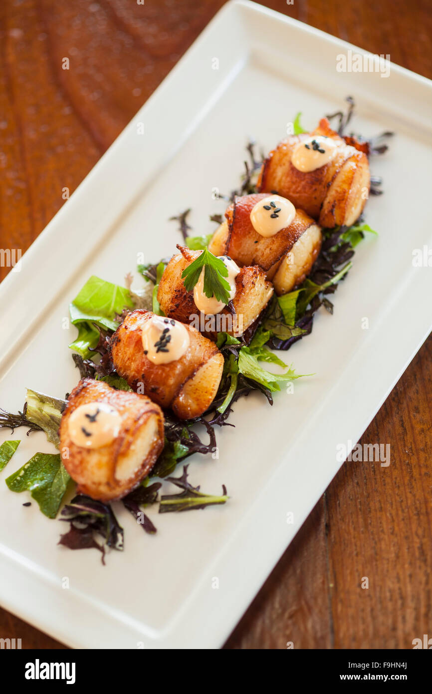 bacon-wrapped diver scallops, Succulent Cafe, Solvang, California - Stock Image