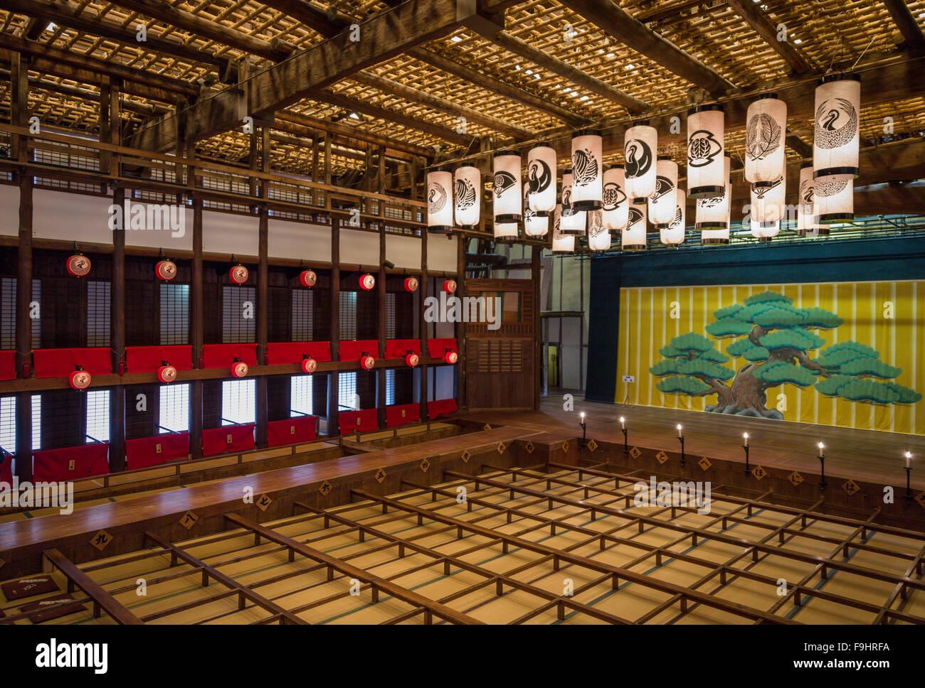 INTERIOR VIEW, KOMPIRA OSHIBAI KABUKI THEATER (1835)           KOTOHIRA          JAPAN - Stock Image