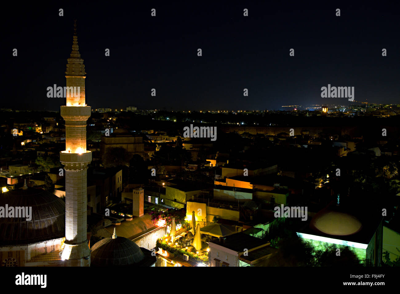 Minaret in Rhodos at night - Stock Image