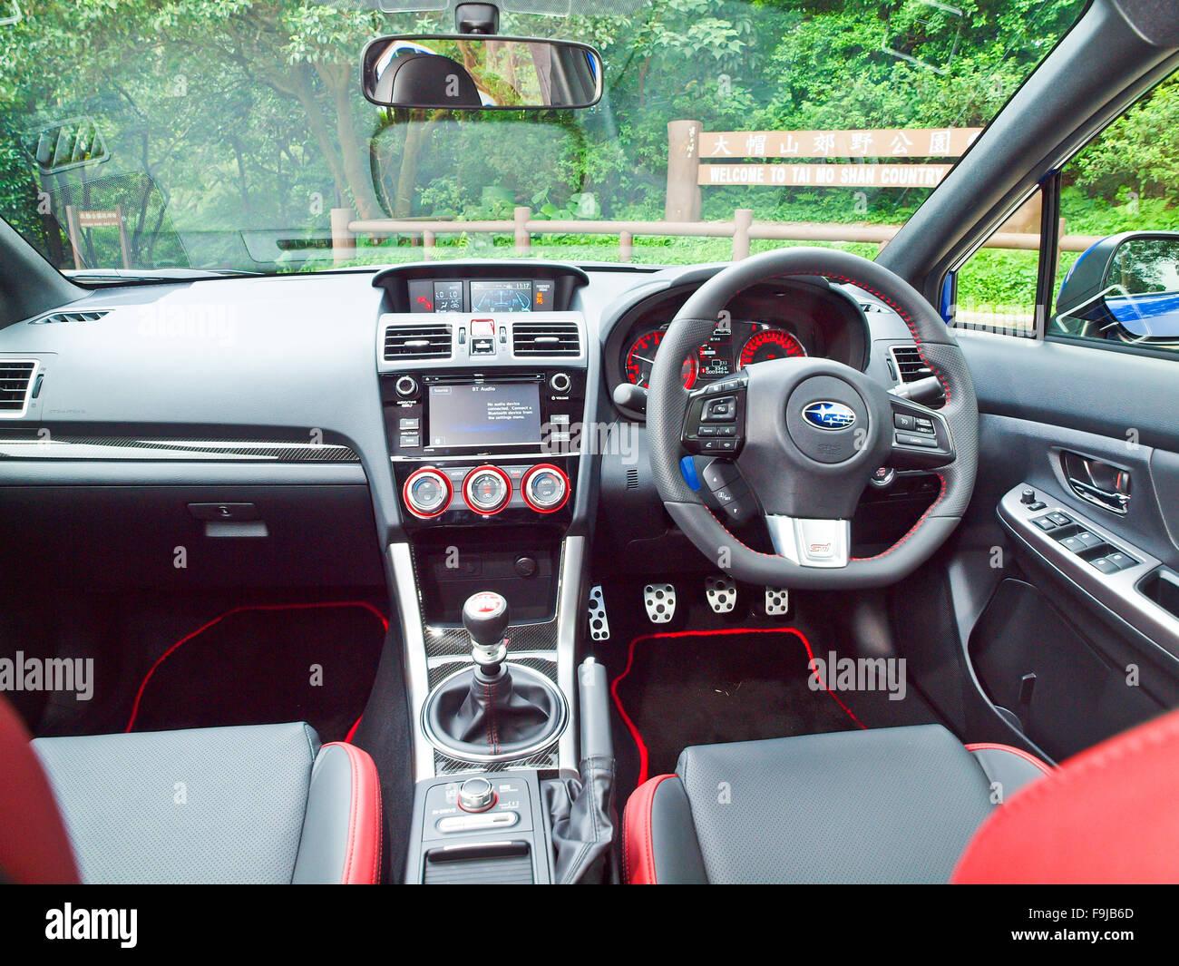 Hong Kong, China Oct 2 2015 : Subaru WRX STI 2015 Interior On Oct 2 2015 In  Hong Kong.