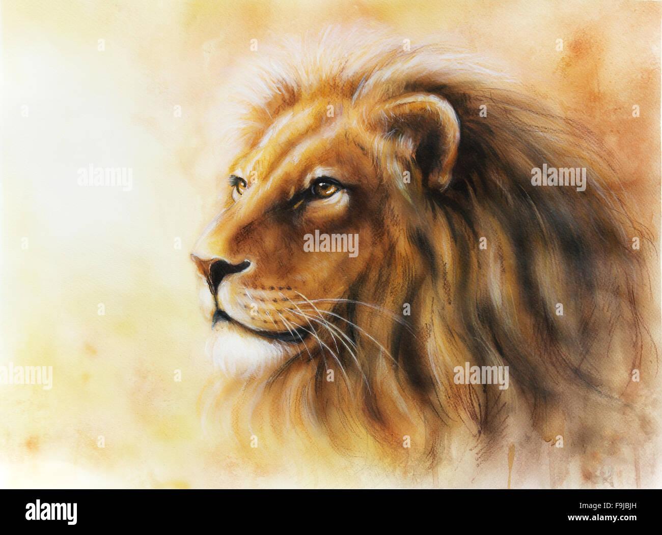 Lion Color Painting Profile Portrait Stock Photo 91988025